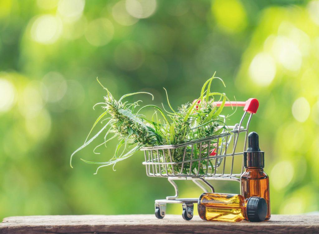 cannabis avec extrait de cannabidiol (cbd) dans un panier d'achat