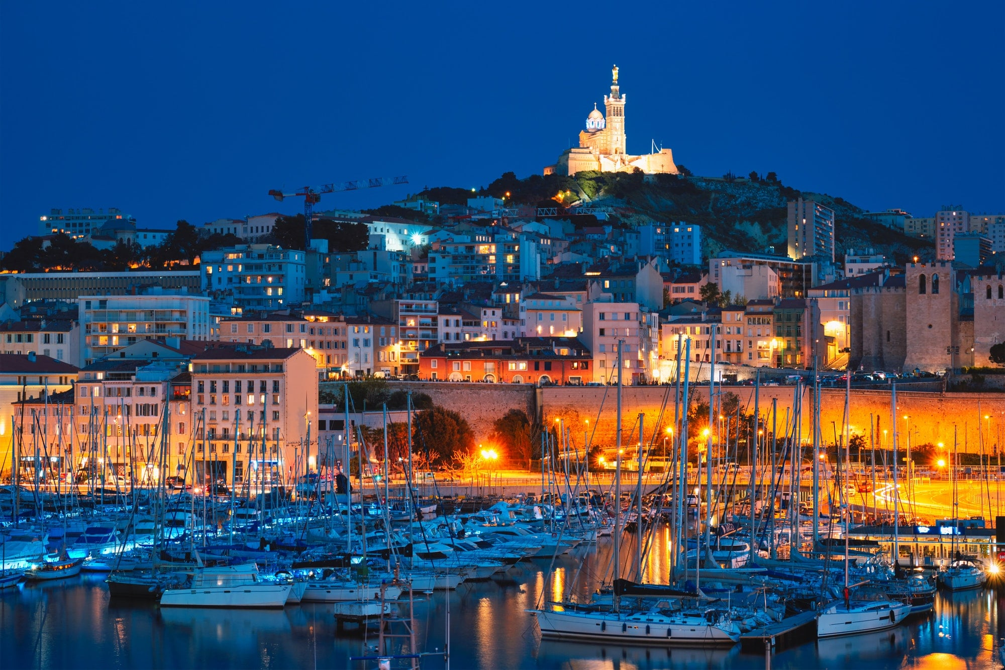 Marseille Old Port in the night. Marseille, France